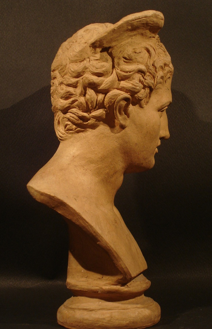 """""""Hermès."""" Signé S. G. Adam. Date: 1874. Vue latérale. Dimension: H 25 cm. Catalogue d'antiquités Olivier Berni Intérieurs"""