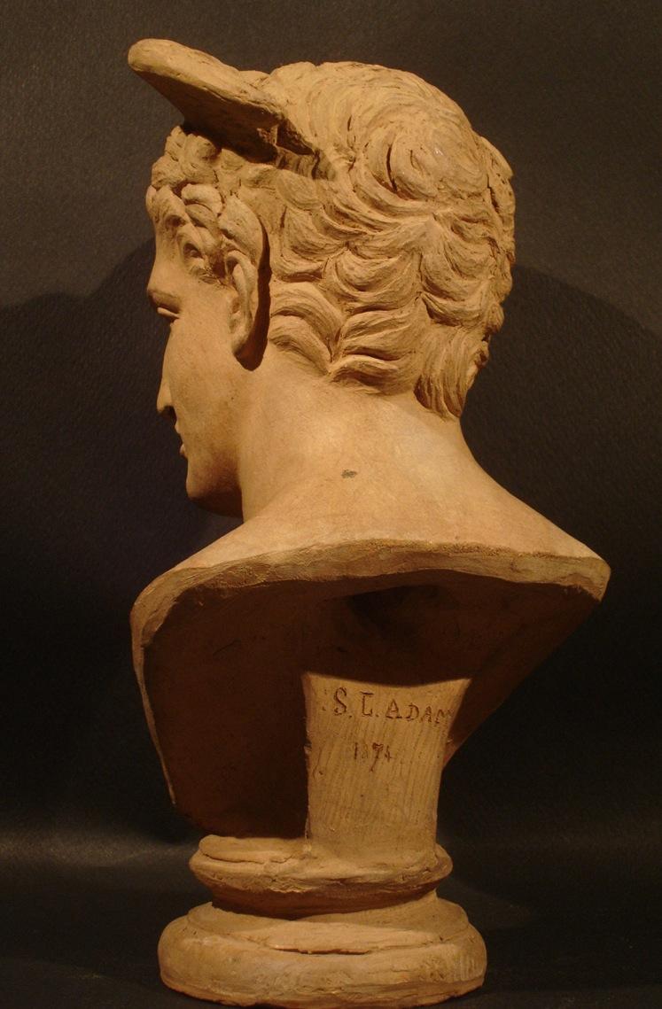 """""""Hermès."""" Signé S. G. Adam. Date: 1874. Vue de dos. Dimension: H 25 cm. Catalogue d'antiquités Olivier Berni Intérieurs"""