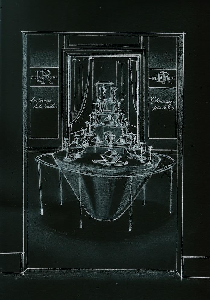 Scénographie et concept décoratif réalisés par l'agence de décoration d'intérieur Olivier Berni Intérieurs. Vente aux enchères d'une collection de mobilier français du 18e.
