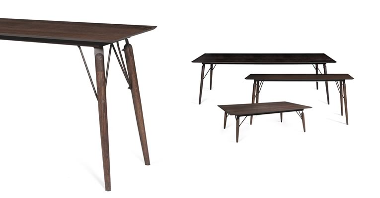 Matériaux : Chêne foncé américain. Dimensions : H 75, 35 ou 41cm, P 90, 61 ou 34cm L 240, 140, 61 ou 140cm. Coloris : Chêne. Prix : 2770 € TTC (140x90x75).